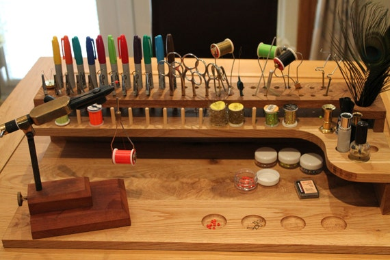 Solid Oak Fly Tying Station