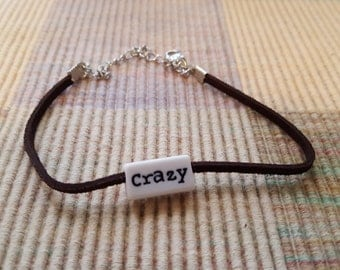 CRAZY/SMILE  Inspirational Word  Brown Leather Bracelet