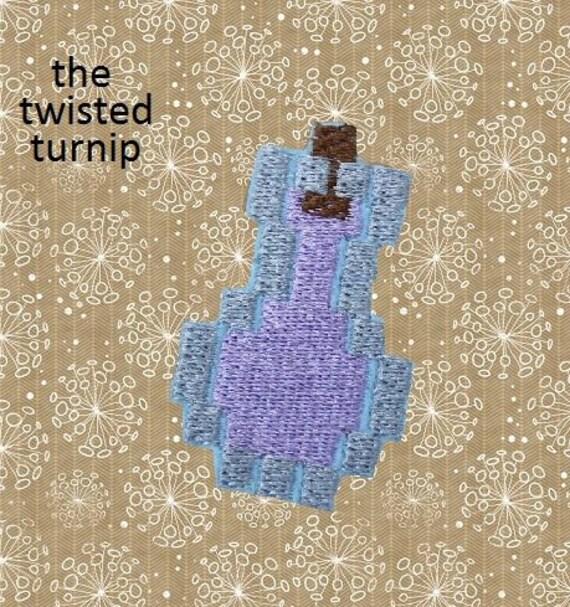 Cute Miner's Potion Healing Strength Mundane Water Bottle Feltie Felt Embroidery Design Instant Download 4x4 Hoop