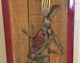 Old Jack Knife Mounted and Framed