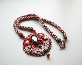 Lunula. Lunnitsa. Traditional Slavic talisman, ethnic Ukrainian necklace, Pagan amulet. The Moon beaded pendant