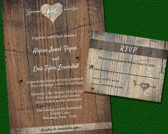 Woodsy Wedding Invitations Suite with Initials- completely customizable!