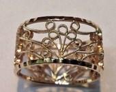 Art Gallery Ring   Wedding Engagement Anniversary Handmade White or Yellow 14k Gold 8 mm Wide
