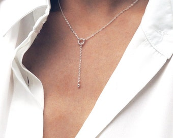 NILA. Sterling Silver Circle Drop Necklace