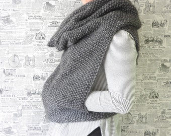 The Mavis / Chunky Knit Hooded Cowl Vest / Hand knitted wear/ Knitwear/Hand knitted dress/