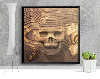 Wood Skull Print - PRINTABLE ART, digital art, wall art, art prints, pop art, wood, skull art, skull poster, skull illustration, skull decor