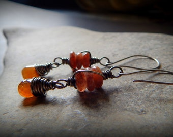 Sunny- Sunstone and Silver Earrings