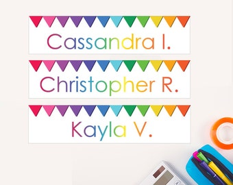 Student Name Tags for Desks - PRINTABLE CUSTOMIZED - Rainbow Bunting - Classroom Teacher Resources