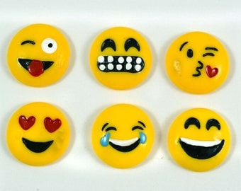 Emoji Facial Expressions Yellow Faces Mixed Inspired Plastic Resins Kitsch