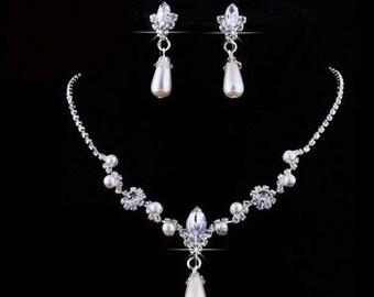 Pearl Drop Bridal / Wedding Earrings & Necklace Set