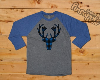 Buffalo Plaid Deer Silouhette Ladies 3/4 Sleeve Raglan Christmas T-Shirt