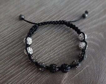 Handmade White Gray Black Ombre Gradient Disco Ball Macrame Adjustable Bracelet with 8mm White, Gray, Black Discoballs, Black Macrame Cord