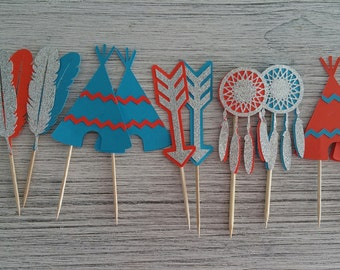 Boho Tribal Cupcake Toppers, First Birthday Cupcake Toppers, Baby Shower Cupcake Toppers (Set of 12)