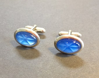 Anson Cufflinks - Silver with Blue Star Stone
