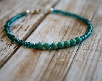 PEACE, Magnesite Beaded Bracelet, Wish Bracelet, Positivity Bracelet, Sterling Silver Bracelet, Stacking Bracelet, Magnesite Bracelet