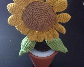Crochet sunflower in the Terracottatopf