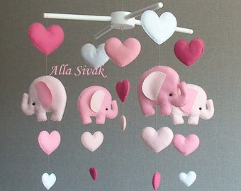 Pink elephant mobile, Elephant baby mobile, Pink mobile, Heart baby mobile, Baby mobile, Elephant mobile, Pink baby mobile, Nursery Decor
