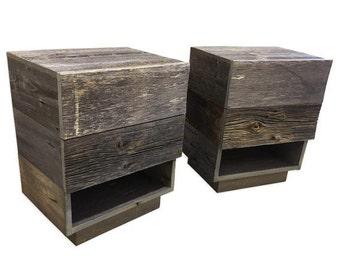 reclaimed wood nightstand side table bedside table two drawer nightstand rustic nightstands