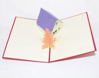 Little House, Pop Up Card, Birthday Card, Greeting Card, Birthday Pop Up Card, Christmas Card, Get Well Card, Anniversary Card, 74
