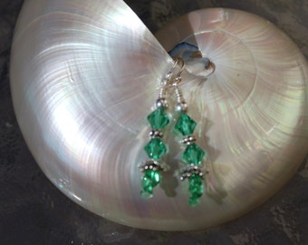 Sterling silver lampwork and Swarovski crystal earrings