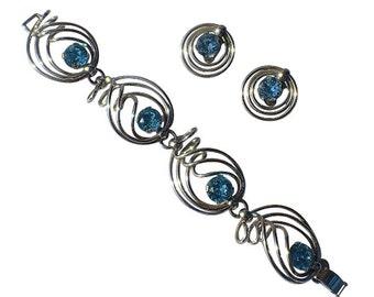 Napier 1950's Hand Twisted Silver Plated Aqua Rhinestone Bracelet & Earrings Set, RARE Book Piece