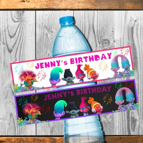Trolls Water Bottle Labels Birthday