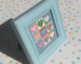 Framed Cross Stitch Heart Design