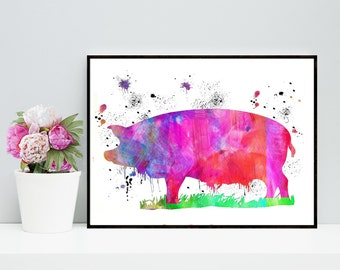 One Dollar Sale! Pig Watercolor Art Print - Piggy Artwork - Wall Art Prints - Digital Download, Digital Pig Art, Watercolor pig Art