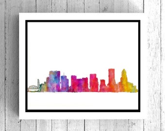 Portland Oregon Art Print - Portland Watercolor Art for Home Decor, Oregon Painting, Portland Oregon Digital Art, Printable Oregon Art