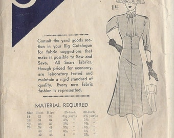 1939 Vintage Sewing Pattern B38 DRESS (R894) Sears 114