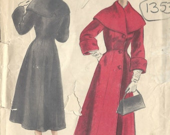 1953 Vintage VOGUE Sewing Pattern B34 COAT (1353) Vogue 8090