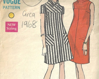 "1968 Vintage VOGUE Sewing Pattern B36"" DRESS (1622)  Vogue 7308"