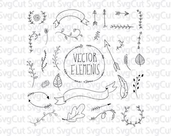 Arrow Element Banner Cuttable Designs Monogram SVG, DXF, PNG use with Silhouette Studio & Cricut, Vector Art, Vinyl Digital Cut Files