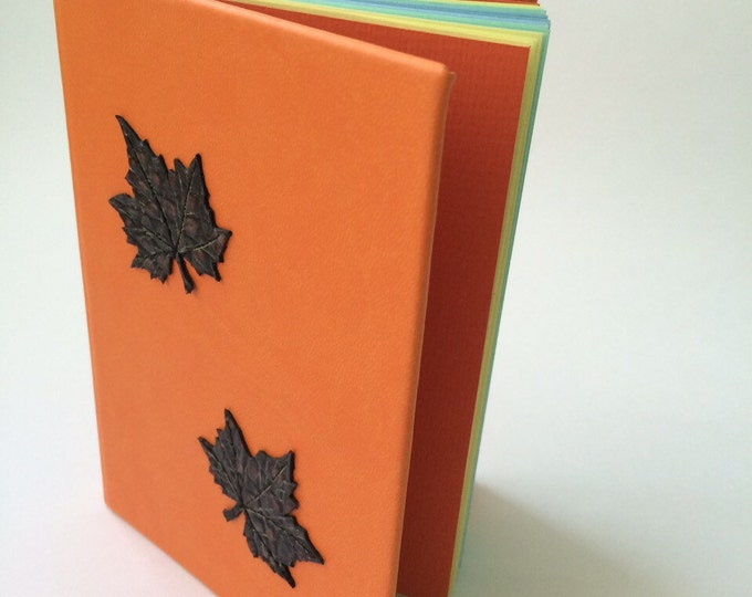Personalized autumn notebook leatherette with waltzing leaves handmade notepad write journal sketchbook book diary gift for her leaves
