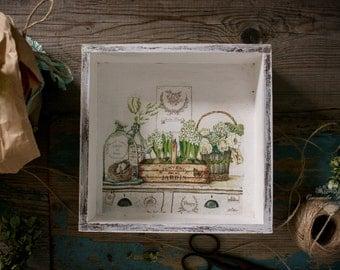 box decorative decoupage, boxes for flowers, 20*20