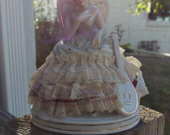Unique Porcelin Girl Next To Mandolin