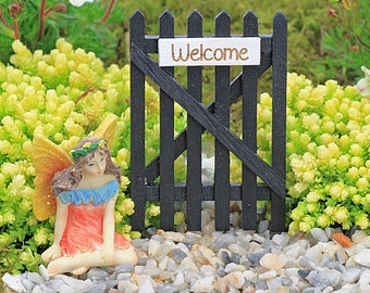 Fairy Garden Miniature Wooden Black Garden Gate with Welcome Sign,  Fairy Gate, Fairy Garden Accessory,