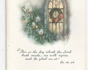 1940s Lovely Vintage Christmas Card with Bible Quote, blank interior