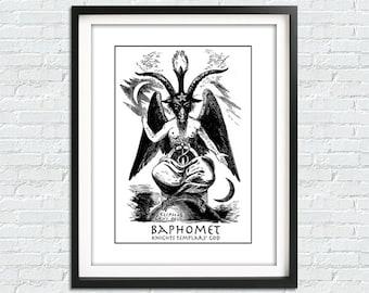 Baphomet Print, Lucifer Poster, God Of Light Print, Baphomet Poster, Baphomet Sigil, Satanic Goat Poster, Satanic Poster, Occult Art Print