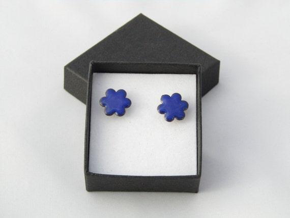 Bright blue enamel flower stud earrings