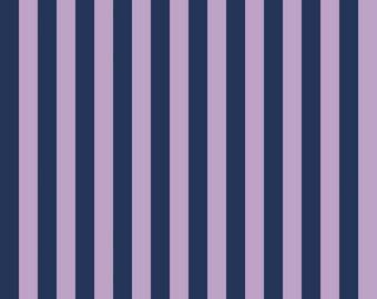 Purple and Navy Stripe Fabric - Riley Blake Half Inch Stripe Fabric - Blue and Purple Material