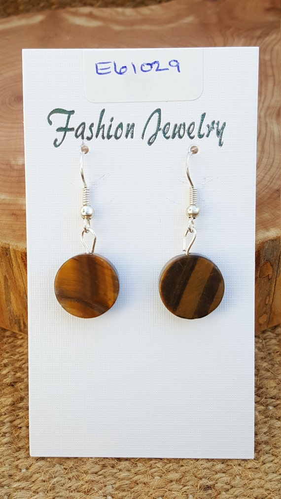 Brown Yellow Tigers Eye Stone Earrings / Tigers Eye Earrings / Dangle Earrings / Hippie Earrings / Boho Jewelry /E61029