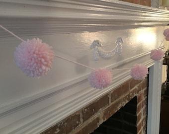 Pink Pom-Pom Garland. Baby shower decorations.  Wedding shower decorations.  Nursery decor
