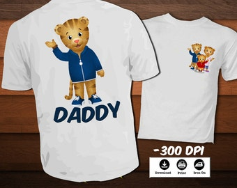 Daniel Tiger T-Shirt-Printable Daniel Tiger Iron on Transfer Shirt-Daddy T-shirt party decoration-INSTANT DIGITAL DOWNLOAD