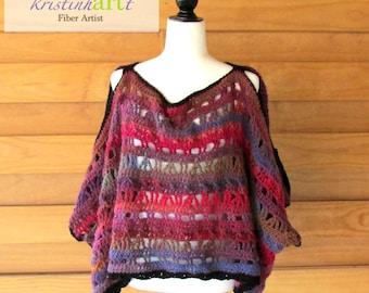 Sexy Little Peek-a-boo Poncho / Handmade Crochet / Hot Pink / Purple / Burgundy / Black / Women's Gift Idea / Wool / Acrylic