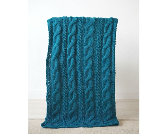 Cable Knit Woollen Blanket, 110x150cm, Teal Hand Knit Throw, Handmade Blue Blanket, Blanket, Housewarming Gift, Family Gift, New House Gift