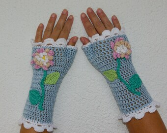 "50% OFF Crochet Gloves: ""BLUE GLOVES"" Fingerless Light Blue Gloves with flowers Hand Warmers Hand Knit Flower Mittens Winter accessory A26"