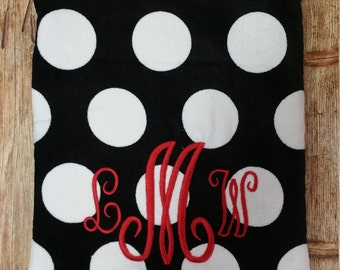 Monogram Beach towel embroider initials or name personalized