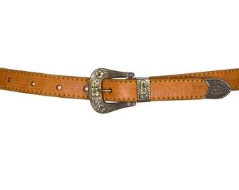 70s Leather Cut Out Jeans Belt UK XXS/XS