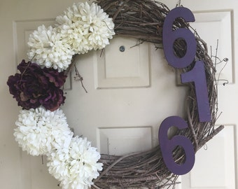 Branch Wreath with Flowers and House Number